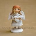 Copaté dievčatko anjelik držiace srdce Z lásky zelený   8 cm
