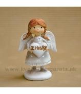 Copaté  dievčatko anjelik stojace so srdcom Z lásky zelený 5 cm