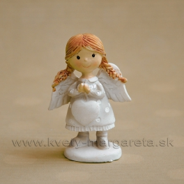 Copaté dievčatko anjelik držiace závesné srdce zelené 5 cm