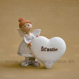 """Dievčatko Anjelik stojace pri srdci  """"Šťastie"""" 5 cm svetlo zelená"""