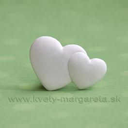Magnetka dvojité srdce biele 4 cm