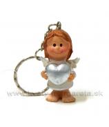 Prívesok - kľúčenka anjelik držiaci srdce strieborné 5 cm
