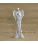 Anjel kvetinové šaty modliaci biely 16cm