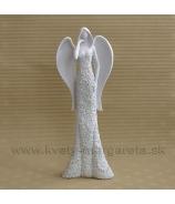 Anjel kvetinové šaty s rukou vo vlasoch 26 cm biely