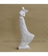 Matka s dieťaťom kvetinové šaty 27 cm biela