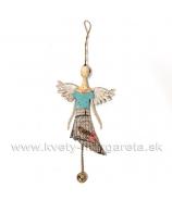 Anjel plechový plochý s vtáčik v klietke tyrkysový 21 cm