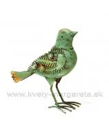 Plechový vtáčik Steampunk Retro malachytová zeleň 24 cm