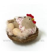 Sliepka sediaca na vajciach v hniezde rúžová 13cm