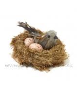Vtáčik s vajciami v rákosovom hniezde 9cm
