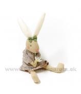 Sediaca zajačica sukni s kvietkom 27cm