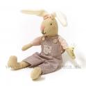 Sediaci zajko ušiak v nohaviciach s kapsou 27cm rúžový