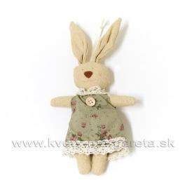 Zajačica v šatách s gombíkom natur 16cm
