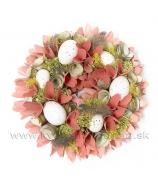 Venček vajcia a dýhové kvety s perím lososový 25cm
