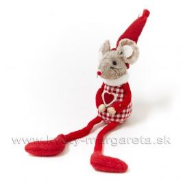 Myška Valentínka červené káro 15cm