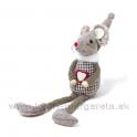 Myška Valentínka khaki káro 15cm