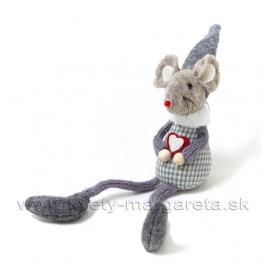 Myška Valentínka sivé káro 15cm