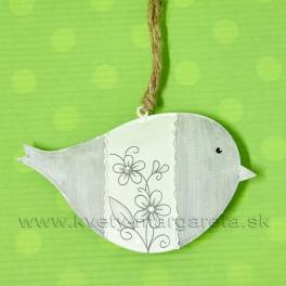 Vtáčik plechový záves kvetinový dekór sivý 12cm