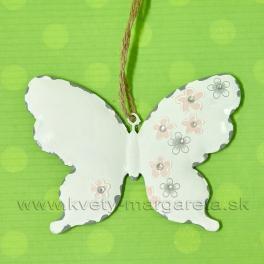 Motýľ plechový záves kvetinový dekór biely 12cm