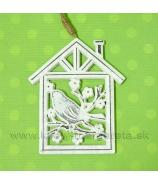 Vtáčik na konári v domčeku 2D reliéfny záves biely 15cm