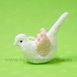 Vtáčik čipkovaný vankúšik bielo-rúžový 15cm