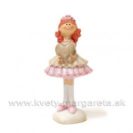Ryšavé dievčatko v krinolíne so srdcom stojace 9cm