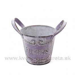 Kýblik plechový pozinkovaný FLEURS fialový 10cm