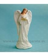Anjel s kvetmi biela juta 26cm