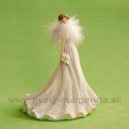 Nevesta Anjelik s labutienkou bielo-krémová 21cm