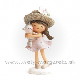 Anime Dievčatko v klobúčiku s mačiatkom 10cm
