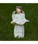 Anjelik s venčekom a kvetmi v náručí biely 13cm