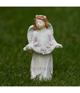 Anjelik s venčekom a kvetmi v náručí starorúžová 13cm