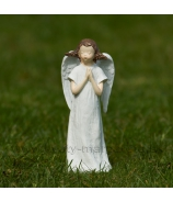 Anjelik s venčekom a srdcom v rukách biela-starorúžová 13cm