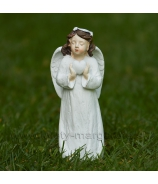 Anjelik s venčekom a srdcom v rukách biela 13cm