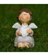 Anjelik pre šťastie Smejko so srdcom sediaci krémový 8cm