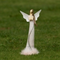 Anjel v šatách s labutienkou a glitrovou vlnou a spojenými rukami rúžový 29cm