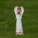 Anjel s červeným ornamentom so srdcom na hrudi 20cm