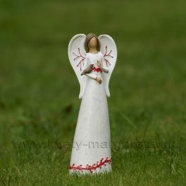 Anjel s červeným ornamentom s vtáčikom na ruke 20cm