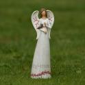 Anjel s červeným ornamentom s vtáčikom na ruke 24 cm