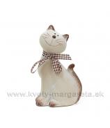 Keramická mačka Micka s mašľou sivá 14cm