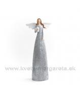 Anjel bublinky držiaci srdce sivý 35cm