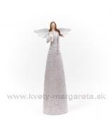 Anjel bublinky držiaci srdce biely 35cm