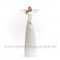 Anjel bublinky so zaveseným srdcom biela 28cm