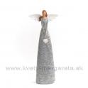 Anjel bublinky so zaveseným srdcom sivý 28cm