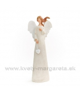 Anjel Stucco s rozviatými vlasmi biely 18cm