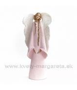 Anjel Strážný - imitácia keramiky 35cm rúžové šaty a biele krídla