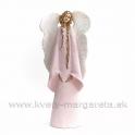 Anjel Strážný - imitácia keramiky 45cm rúžové šaty a biele krídla
