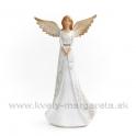Anjel drevorezba držiaci srdce biely 28cm
