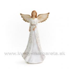 Anjel drevorezba v šatách biely 20cm