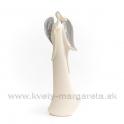 Anjel Silver Wind s rukou na hrudi 22cm