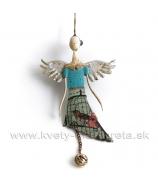 Anjel plechový záves s rolničkou tyrkys 30cm